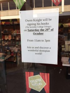 Book Signing: Waterstones Chelmsford Saturday 29th October 2016