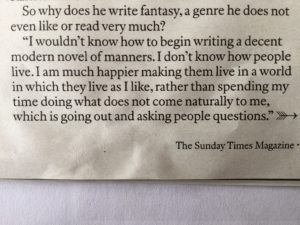 Philip Pullman on Writing Fantasy